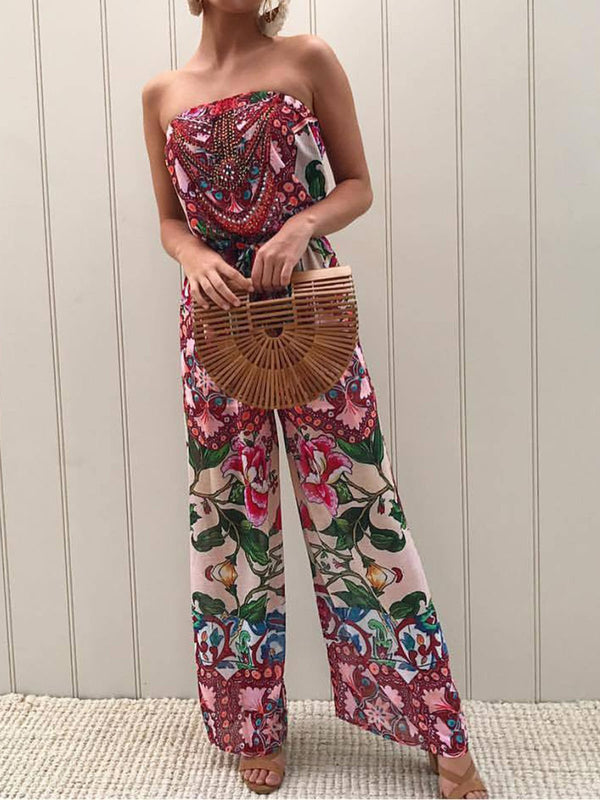 Casual Sleeveless Floral-Print One-Pieces