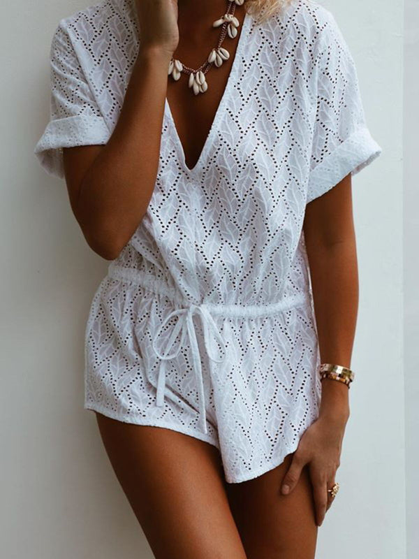 White V Neck Cotton Solid Short Sleeve Jumpsuits