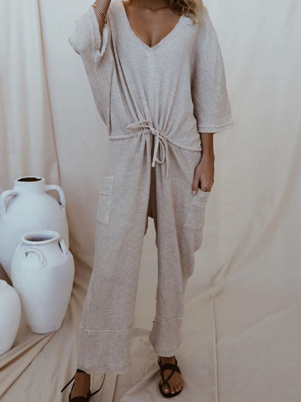 Gray Solid 3/4 Sleeve V Neck Jumpsuits