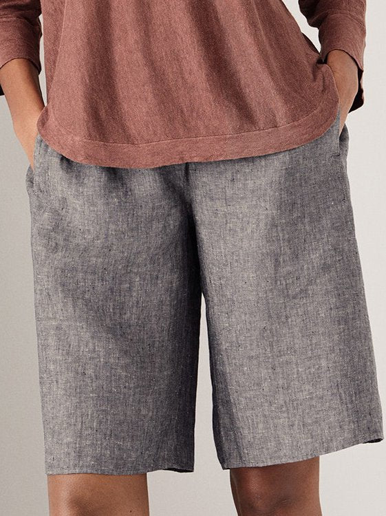 Cotton-Blend Casual Pockets Solid Pants