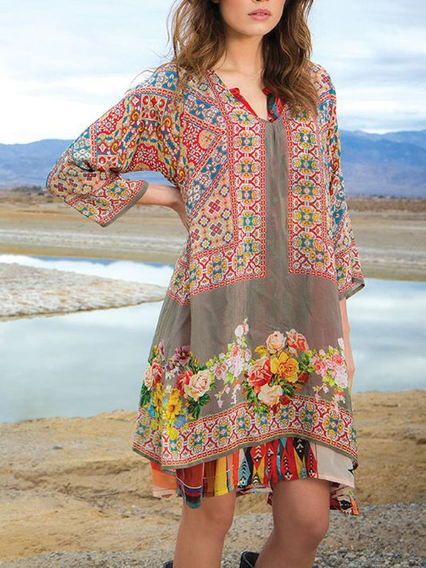 Women Floral V Neck Shift Boho Dresses