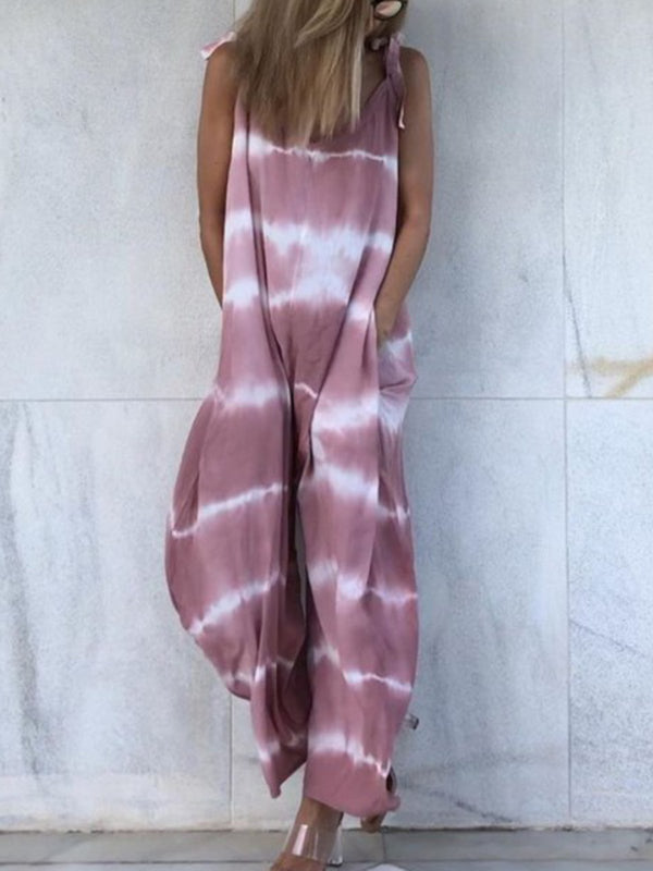Women Jumpsuits Pockets Tie-Dye Spaghetti Casual Jumpsuits
