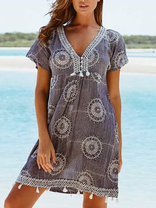 Women Casual Short Sleeve V Neck Printed Dresses