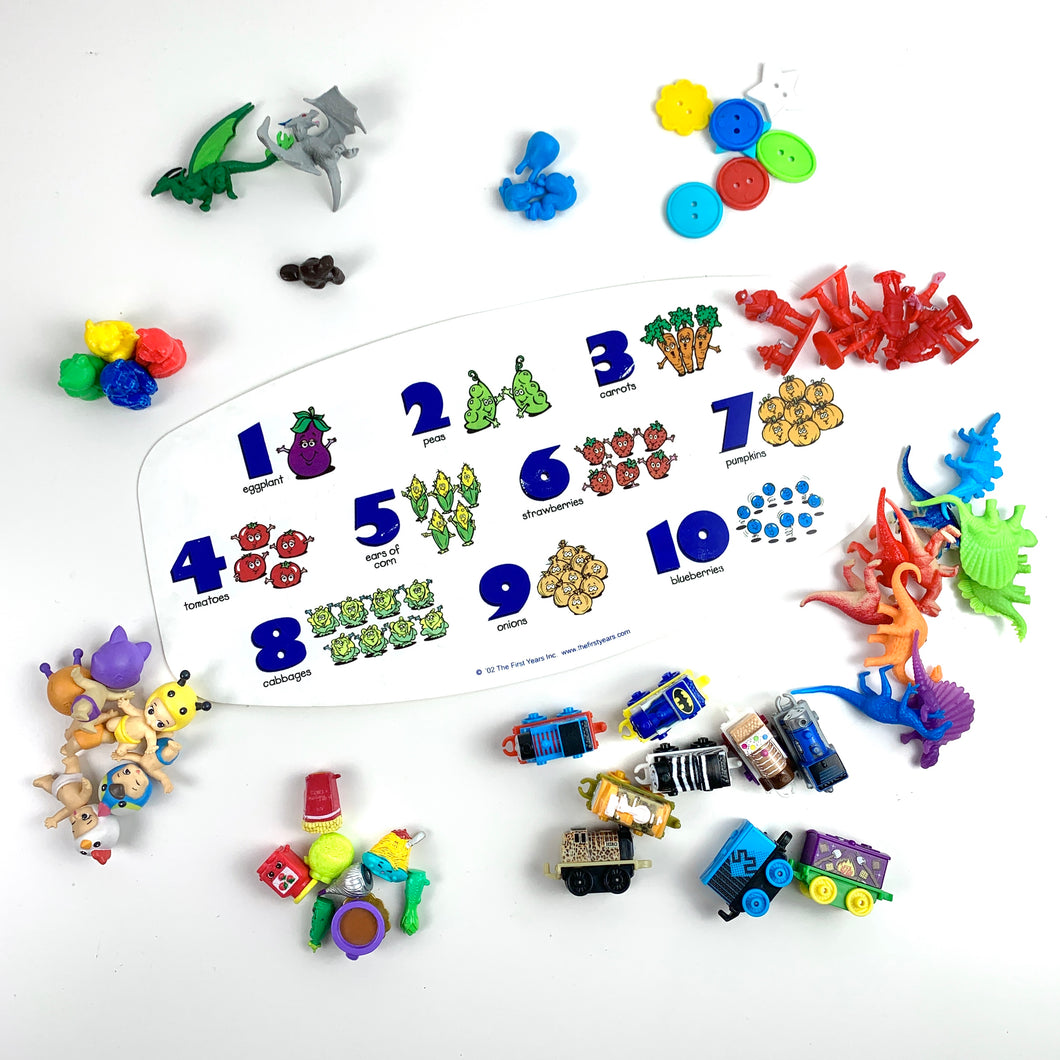 Numbers 1-10: Counting Mat & Toys *FRENCH/ENGLISH*