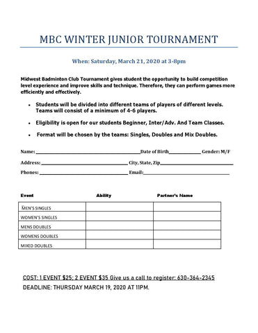 MBC 2020 Winter Junior Tournament March 21, 2020