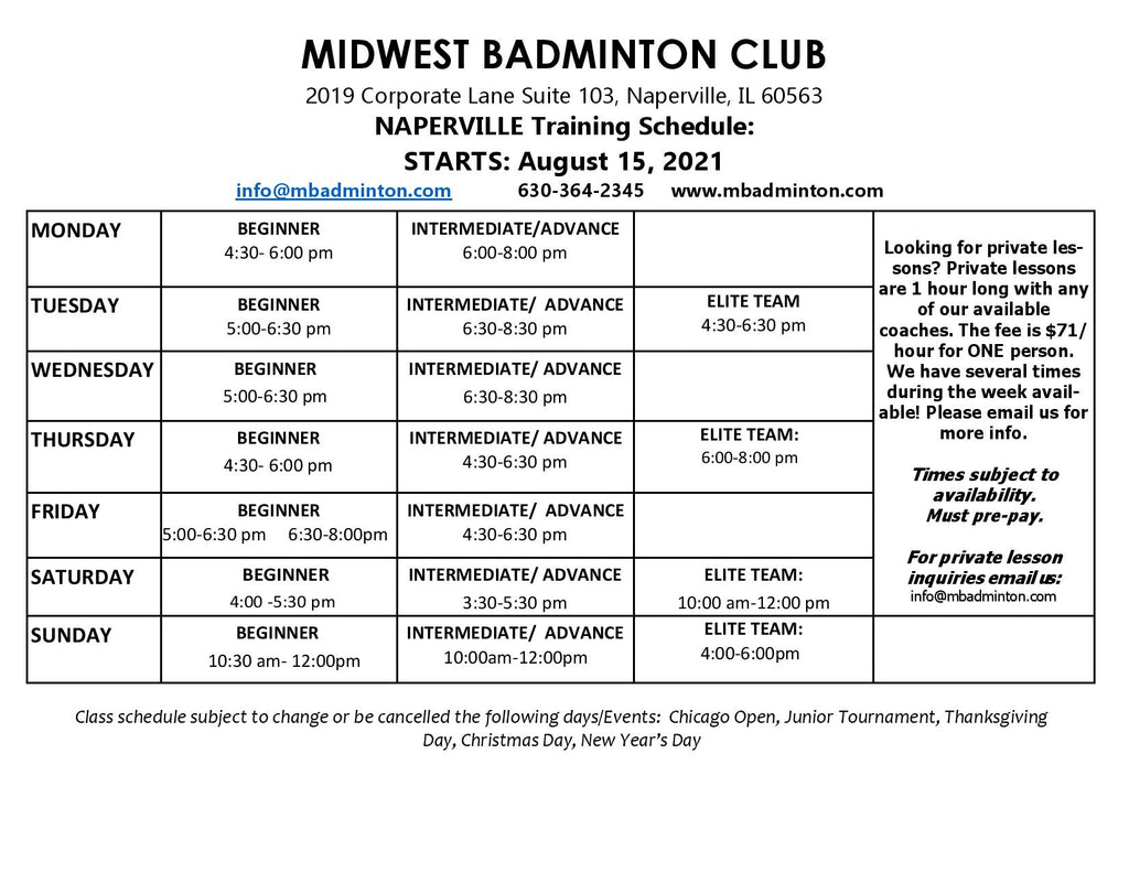 Naperville Fall 2021 Schedule