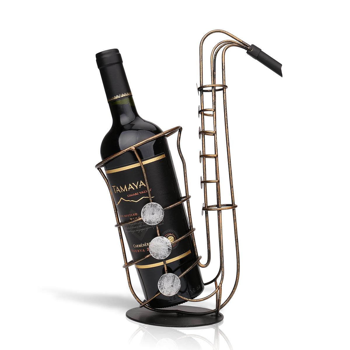Wine Bottle Holder Sax Metal Figurine