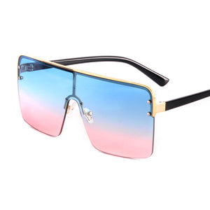 Summer Fashion Oversized Square Sunglasses Women 2020 Brand Designer Vintage Gradient Blue Pink Eyewear UV400