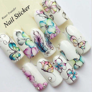 1 Sheet Water Decals Nail Art Stickers  Flowers Cartoon 2019