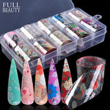 10 Designs/Set Starry Holographic Glitter Paper Nail Art Foils Set Nail Transfer Sticker Decals Laser Holo Flower Slider