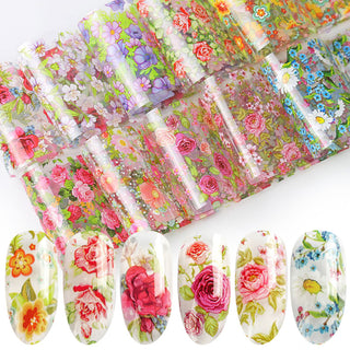10 pieces Set Nail Leaf Stickers Varnish Mix Rose Flower