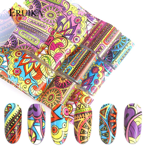 10pcs Retro Style Holographic Nail Foil Transfer Foil Stickers