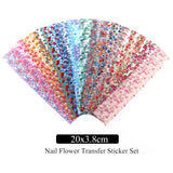 16pcs Holographic Nail Foils Rose Decals Wraps for Nail Art