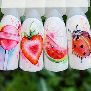 1PCS Strawberry Summer Fruit Drinking Stickers For Nails
