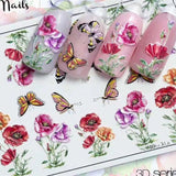 3D Acrylic Engraved Flower Nail Sticker Embossed Flower Butterfly