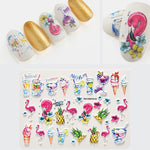 3D Acrylic Engraved flower Nail Sticker Embossed Leopard