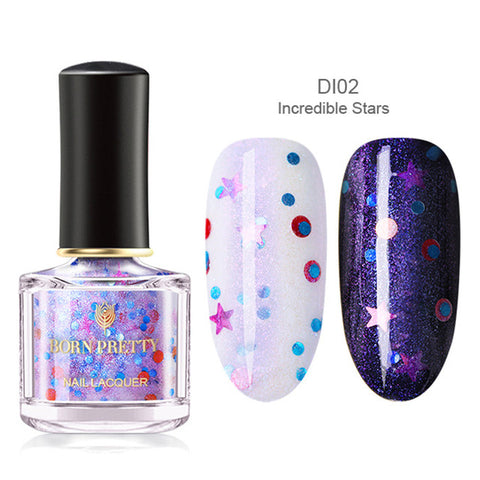 6ml Holographic Nail Polish Opal Star Colorful Shiny