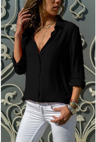 Basic Solid Blouse Shirt Casual 2019