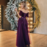 Long Purple Red Gray Woman Evening Dresses 2019