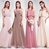 Elegant Bridesmaid Dresses Long Chiffon Dress