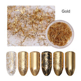 Gold Silver Nail Glitter Strip Mirror Flakes 3D Nail Art
