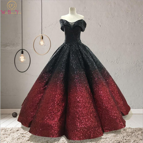 Gradient color Evening Dresses Bling Black-wine