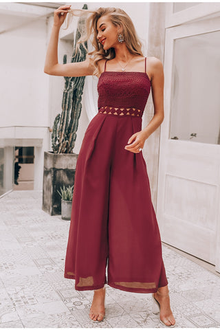 jumpsuit romper Elegant embroidery wide-leg