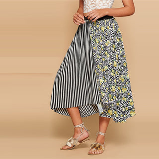 Boho Multicolor Mixed Print Asymmetrical Hem Skirt