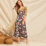 Long Dress Women Deep V Neck Puff Sleeve