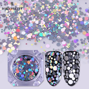 Holographic Silver Gold Nail Flakies Mixed Size
