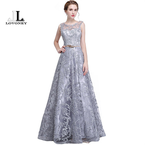 Elegant Evening Dress Long A Line See Though Back Formal Dresses Women Occasion Party Dresses with Belt 2019 New