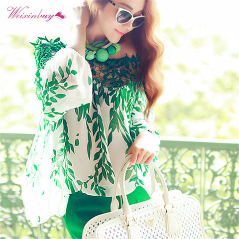 Lady Women Green Leaf Blouse Hollow