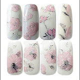3D Nail Stickers Embossed Pink Flowers Gold Silver