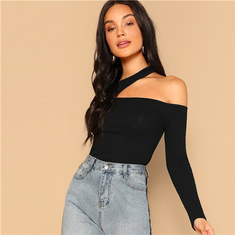 Black Asymmetric Cutout Neck Ribbed T-shirt