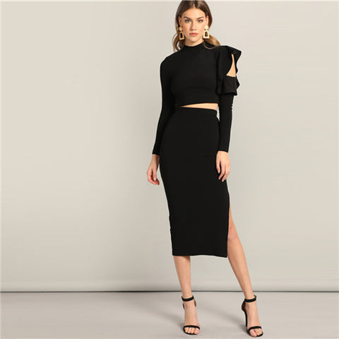 Black Asymmetrical Ruffle Sleeve Top And Slit Plain Skirt