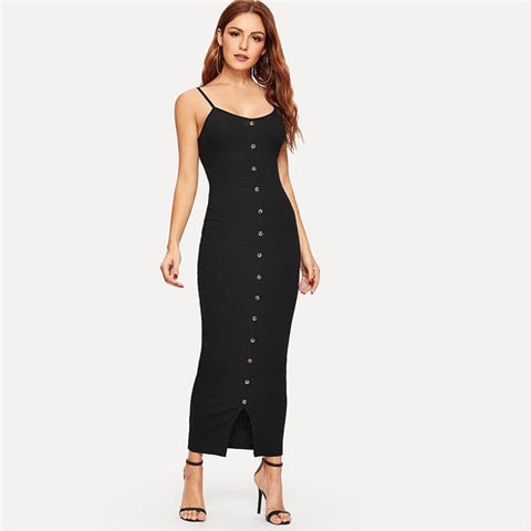 Black Button Front Slit Hem Rib-Knit