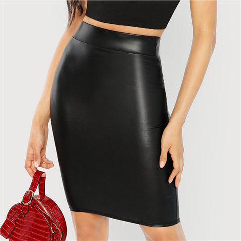 Black Wide Waistband Solid Skinny Skirt