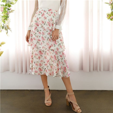 Midi Skirts Womens Summer 2019 Sweet Elegant