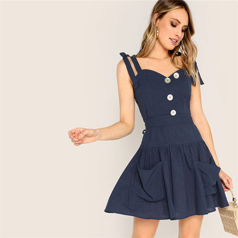 Boho Navy Knotted Shoulder Button Front
