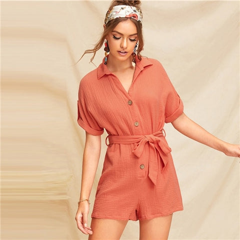 Boho Orange Roll Up Sleeve Single Breasted Mini Jumpsuit
