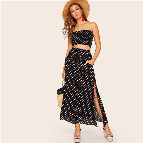 Boho Polka Dot Shirred Bandeau Top And Maxi Skirt Set