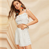Boho White Knot Back Polka Dot Top And Shorts