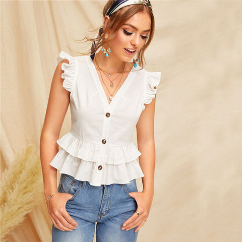 White Blouse Ladies Tops Summer Casual