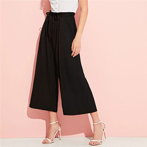 Elegant Drawstring Waist Pleated Black Wide Leg Pants