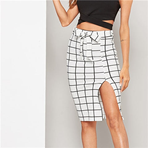 Elegant White Split Grid Belted Pencil Midi Skirts