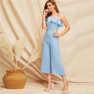 Glamorous Blue Jumpsuit Spring Women Mid