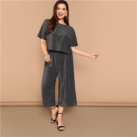 Gray Plus Size Cutout Back Short Sleeve