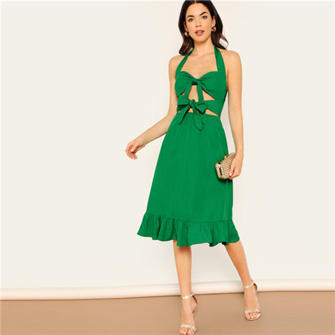 Green Sexy Dress Women Casual 2019