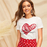 Lady Simple Round Neck Graphic Print White T Shirt