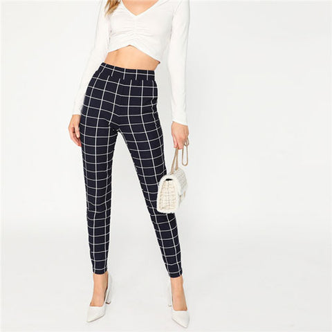 Navy Classy Slant Pocket Plaid Mid Waist Skinny Carrot Pants